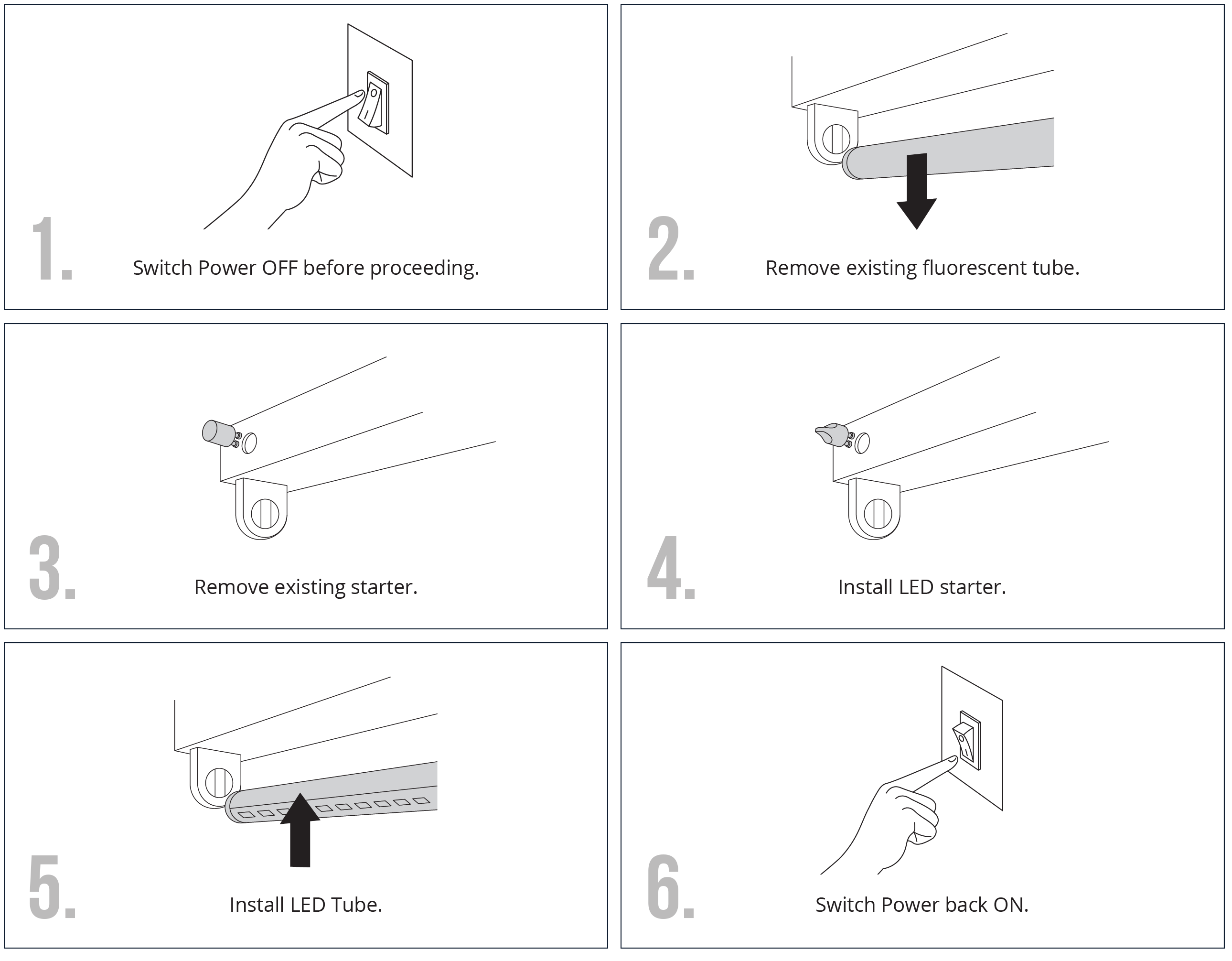 How to install lumenite led instructions to install led tube lights aloadofball Image collections